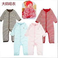 2013 free shpping 100% cotton infant bebe fashion boutique clothing long sleeve stripes newborn boy girl coverall rompers