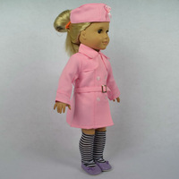 """Doll Clothes outfit pink dustcoat fits for 18"""" American Girl Dolls , girl birthday present gift  A01"""