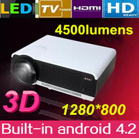 Full HD 4500lumens 1280*800 Video LED Home Theater Projector 1080P Proyector with 2HDMI 2USB TV Tuner led lamp 50,000hr