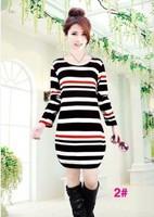 Free Shipping 2014 fashion long sleeve loose basic shirt sweater dress/many designs