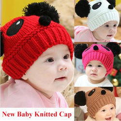 NEW Panda shaped Lovely Boy girl Hats,winter baby hats, Knitted caps children warm hats, Free shipping, PMM060(China (Mainland))