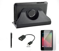 4in1 Set For Google Nexus 7 2012 Nexus 7 II 2nd 2013 Rotating Stand Leather Case+OTG Cable+Screen Protector+Pen
