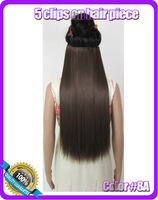 "24""(60cm) 120g straiht clip in synthetic hair extensions hairpiece hair pieces accessories color #8A Ash Brown"