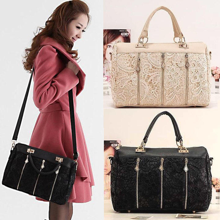 Sexy Clutch Shoulder Purse Handbags Tote Bags women Boston lace bags handbag Apricot Black 3890(China (Mainland))