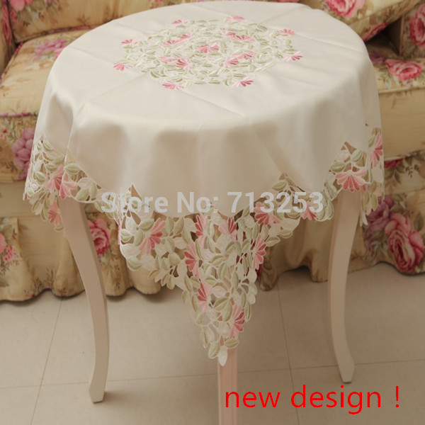 No.234 Rose leaves cutworing by handmade Polyester cheap tablecloth embroidered table cloth for home(85*85cm)free shipping(China (Mainland))