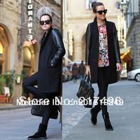 Woman Woolen Coats Winter New Suit Collar Long PU Leather Sleeve Work Coat for Women Overcoat Female Jacket US Size XS-XXL