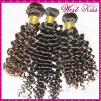 "Top 6A Unprocessed virgin Peruvian tight curly hair extension mixed lengths(24"",26"",28"") Free shipping"