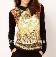 2013 Autumn New women's brand design fashion Blouses Palace cuff Rivet back zipper Pullover head Shirt ladies' Retro Top ft161