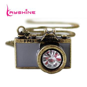 Gift Vintage Jewelry Hot Sale Lovely gray Enamel Camera Pendant Necklace