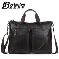"""hot sell fashion brand casual cowhide Genuine leather men handbag shoulder bag for 14"""" laptop"""