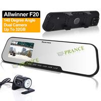 DV300L Allwinner F20 Dual Camera Lens RearView Display Mirror DVR With External Camera +2.7 Inch+140 Degree+G-Sensor OT05