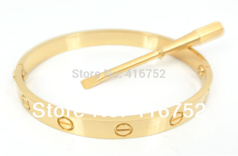 Free Shipping Mens/Womens bracelets & bangles Stainless Steel Gold Plated Screw Love Bangle for Lovers with free Screwdriver(China (Mainland))
