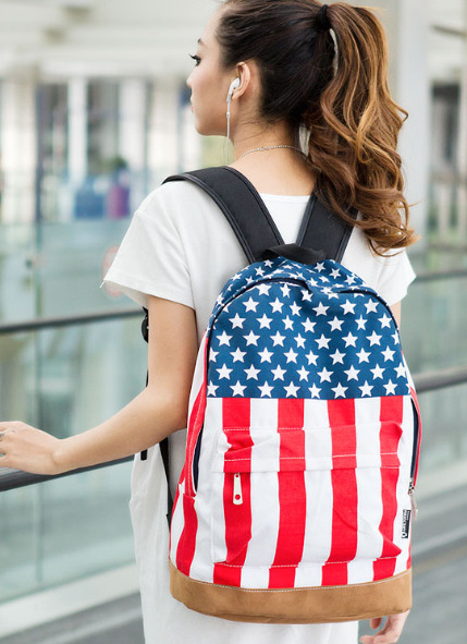Hot Fashion British Britain American UK USA Flag Bag women Canvas Packbag Student School Outdoor Travel Hiking Backpack(China (Mainland))
