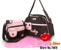 FREE SHIPPING Wholesale 5pcs lovely bear carter mummy bag sets  + pink heart carter baby bag + blue flower nappy diaper bag