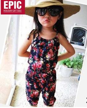 Hotsale girl's summer suspender pant girl's flower Jumpsuits baby overalls girl trousers children loose dress pants 5pcs/lot