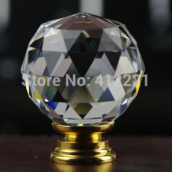 Free shipping 10 pcs/lot 40mm Crystal Glass Clear Cabinet Knobs in brass Drawer Pull Handle Kitchen Door Wardrobe Hardware