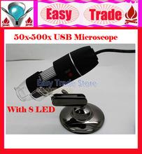 Frete grátis 2013 NEW CHEGADA 50X-500X Microscópio Digital USB com 8 LED(China (Mainland))