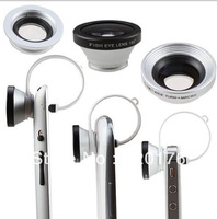 1Pcs Free shipping Factory price 3 in 1 lens 180 Fisheye Lens + Macro Lens + Wide angle  clip lens for iphone Samsung HTC Nokia