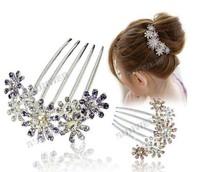 FREE SHIPPING 2014New Fashion High Quality  flower alloy diamond hair comb headwear women hair accessories