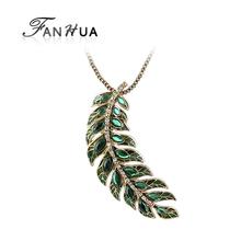 Bijoux Women Gold Color Alloy Chain Green Leaf Rhinestone Necklaces Pendants 2014 Latest Style Elegant Costume Jewelry(China (Mainland))