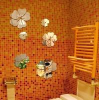Min order 15 usd ( Mix items) Home Decoration 3D Waterproof Mirror Surface Wall Stickers Tv Sofa Wall mirror Sticker 5PCS FLOWER
