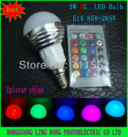 Wholesale and retail 10pcs/lot 16 Color Changing E14 3W RGB LED Light Bulb Lamp AC85V~265V + IR Remote Control