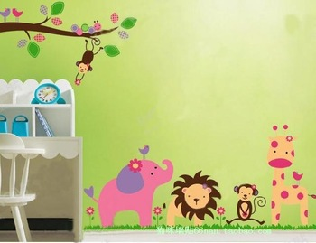 Removable wall stickers children's bedroom decor stickers nursery wallpaper cartoon of home accessories elephants lion park