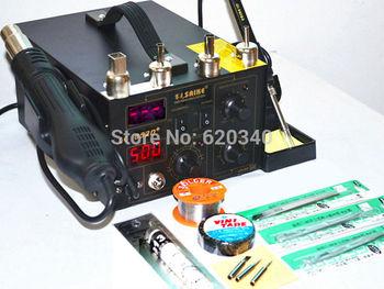 220V/110V Saike 852D+ Hot Air Rework Station Hot air gun soldering station BGA De-Soldering 2 in 1 with lots of accessories