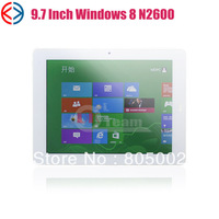9.7 inch windows 8 tablet Intel Atom N2600C Dual core 1.6Ghz 2GB 32GB Bluetooth silver Dual Camera Tablet pc
