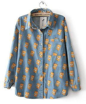 Free shipping High quality Cartoon Portrait Head Bart Simpson denim shirt   men and ladies hot fashion