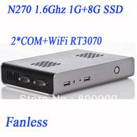 Intel Atom N270 1.6Ghz Windows 7 or Linux smallest IPC mini pc with 2 COM WiFi Black 1G RAM 8G SSD