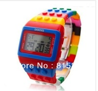 LED sports electronic Students watch bigbang 7 colour Rainbow watch for men women building block digital Ladies Children watch
