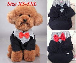 Small Pet Dog Clothes Western Style Men's Suit & Bow Tie Puppy Costume Apparel(China (Mainland))