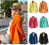 Fashion  One Button Tops Womens Suit  Candy Color Lined Striped Blazer Jacket  Coat TS001