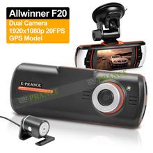 E-prance 100% Original F90G Car DVR Dual Lens Camera Allwinner+GPS Logger+1920x1080p 20FPS+External IR Rear Camera Free Shipping(China (Mainland))