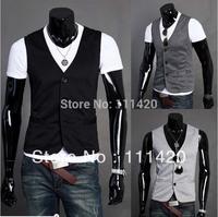 Men V Neck Suit Vest New Arrival Fashion  Casual Slim  3 buttons