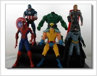 6 Pieces 14CM Series of Doll Toys Superman Spiderman Batman Thor America Wolverine Action Toys  Figures WA0033