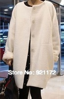 Ann . spring sweet o-neck loose poncho brief all-match wool coat woolen Women's outerwear 2013 new white Free size high quality