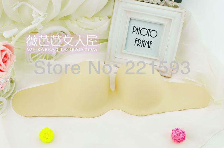 A thick piece bra seamless silicone invisible bra deep side V gather supporting wedding dress(China (Mainland))