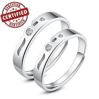 """(2 pieces /a pair) Certified 100% Solid Sterling silver 925 ,Promise , 18k gold plated, open Ring sets , """"Everlasting Love"""""""