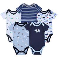 Luvable Friends 5 Pieces/lot 2015 Summer Boutique Baby Romper Vestidos Cute Pattern One-Pieces Baby Clothing Roupas Meninos