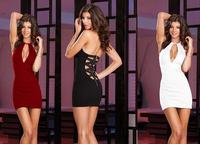 New Tops Sexy Club Dresses,Ladies Deep V-Neck Halter Back Cross Straps Zipper Sheath Mini  Dresses D0023 Free Shipping