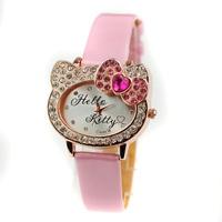 Free Shipping Hot Sale Hello Kitty Women Rhinestone Watch Vogue Girls Cartoon Quartz Dress Wristwatch Fashion Clock Reloj TWL040