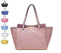 Classical Punk Style Fashion Rivet bag Designer Brand Celebrity Vintage Cowhide Handbag Genuine Leather Shoulder Bags For Women