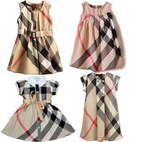 2-6yrs Baby Girls Dresses dress Fashion summer 2014 New short-sleeved Baby girls brand Plaid Dress 100% cotton Free shipping