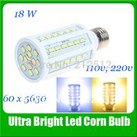 Big Sale Free Shipping E27 High Grade Brightness Led Lamp 18W 1600lm 60 Leds 5630 360 degree Corn Bulb Light 110v/220v Led Bulb