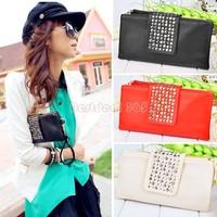 free shipping Korean Style Lady wallet Clutch Purse PU Leather fashion Handbag designer Rivet Evening Bag 4004