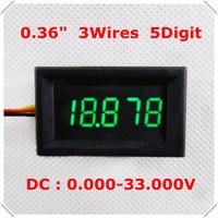 "Voltage Panel meter  Three Wires DC 0-33V  0.36"" Digital Voltmeter 5 Digit LED Display Color: Green [ 4 pieces / lot]"