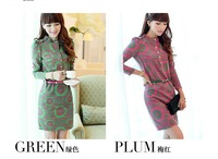 free shipping 2013 new style autumn dress lady fashion dress two color vintage print