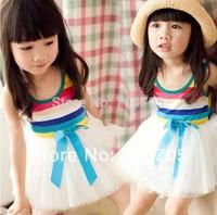 Free shipping  Children's Clothing  girl dress  Summer  Rainbow pattern  Stripe  Dress  Cute  Sweet  5 pcs/lot  100% Cotton